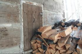 firewood outside the sugar shack