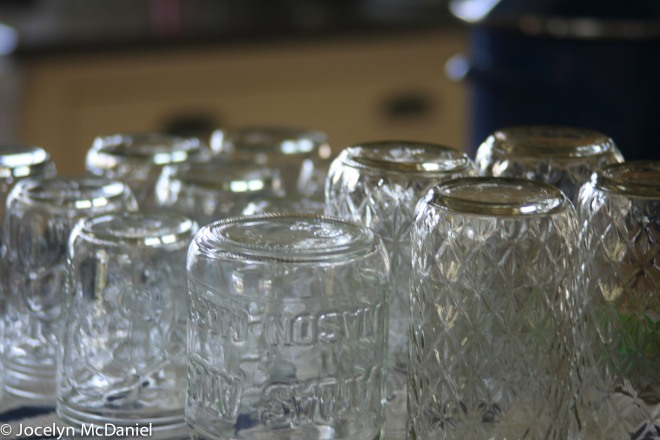 Photo of jam jars waiting to be filled with maple syrup