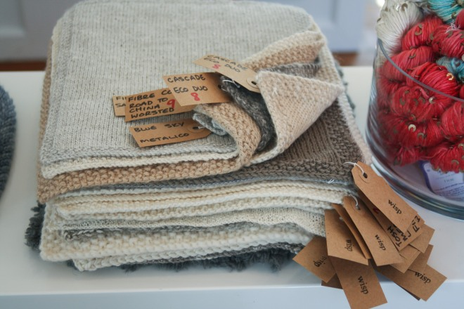 photo of knitted swatches at Wisp Shop
