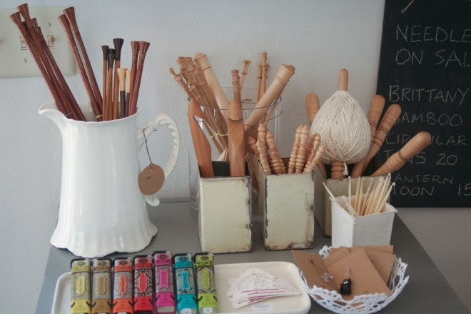 photo of knitting needle display at Wisp Shop