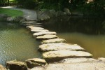 photo of the stepping stones in the Japenese Garden Pond, Dawes Arboretum, Ohio
