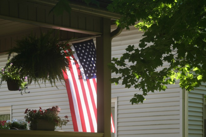 photo of a flag on a porch in Granville, Ohio