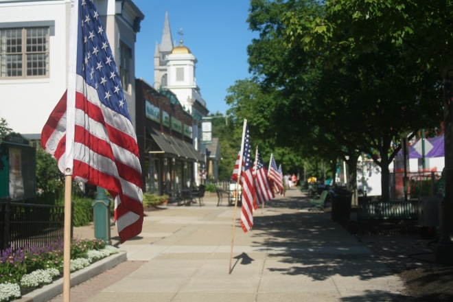 photo of flags on display, waving in the wind, Granville, Ohio