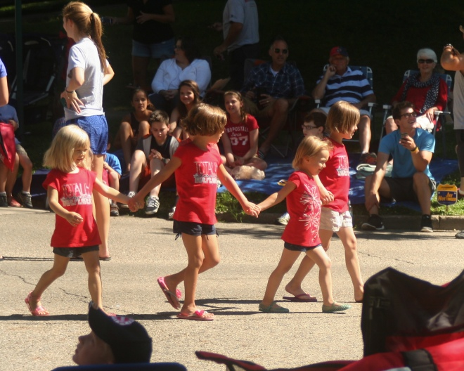 photo of four little girls at the Fourth of July Parade