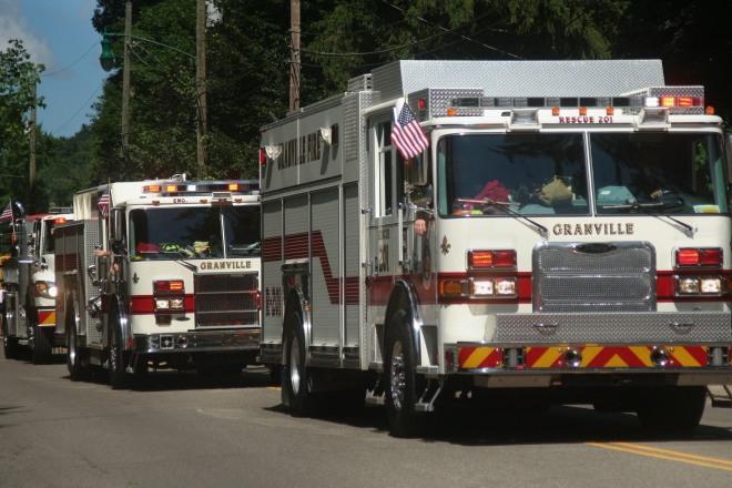photo of firetrucks in the Fourth of July Parade, Granville, Ohio