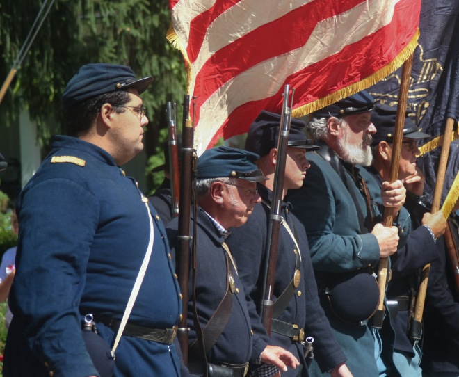 photo of Civil War re-enactors marching in the Fourth of July Parade, Granville, Oho