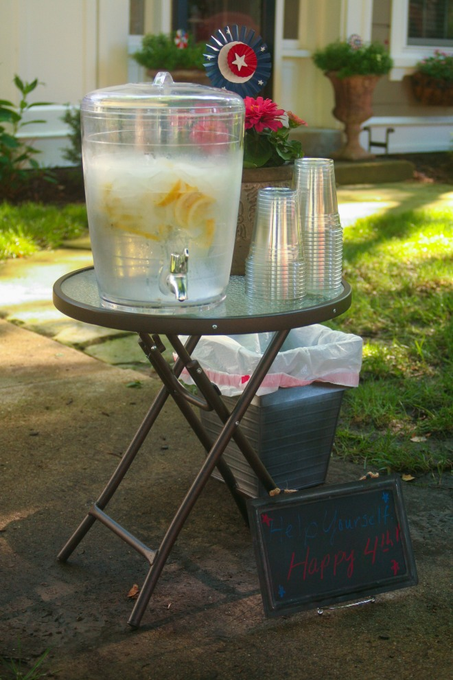 photo of water jug and glasses for guests at the parade and fair in Granville, Ohio