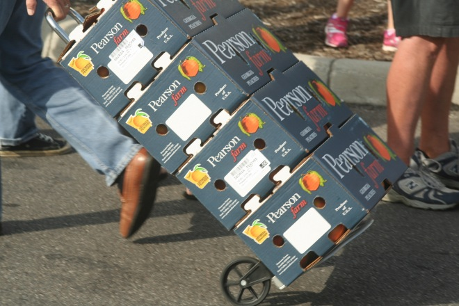 photo of a man pulling a dolly with four 25 lb boxes of Georgia peaches