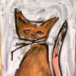 cat with crescent moon face, by artist Susie Mohler, from my personal collection