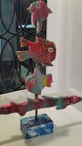 a fish sculpture at the Rendville show and sale