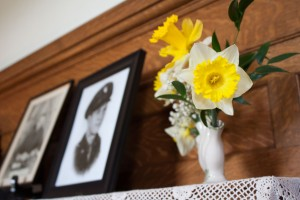 daffodils in a traditional vase