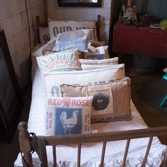 Vintage feedsack pillows.